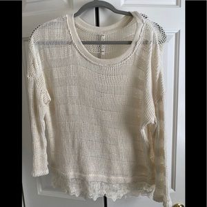 Willow&Clay white lace sweater small